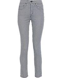 Nili Lotan Striped Mid-rise Skinny Jeans Dark Denim - Blue