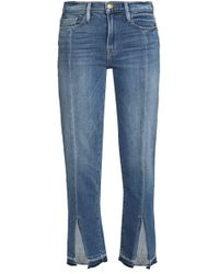 FRAME - Frayed Faded Mid-rise Slim-leg Jeans Mid Denim - Lyst
