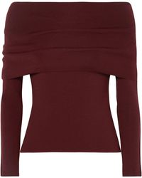 Agnona Off-the-shoulder Wool-blend Sweater Burgundy - Purple