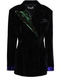Christopher Kane Double-breasted Crushed-velvet Blazer Black