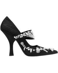 Erdem Idetta Embellished Moire Court Shoes - Black
