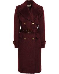 MICHAEL Michael Kors Double-breasted Brushed Wool-blend Coat Claret - Red