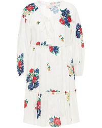 Tory Burch Gerafftes Strandkleid Mit Floralem Print Und Stickereien Größe Xs - White