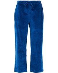 Être Cécile Être Cécile Cropped Metallic-trimmed Organic Cotton-velour Straight-leg Pants - Blue