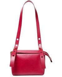Sophie Hulme The Bolt Leather Shoulder Bag Magenta - Red