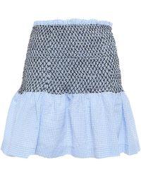 Ganni Serenity Smocked Gingham Cotton-blend Seersucker Mini Skirt Light Blue