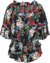 Marissa Webb - Woman Ruffled Floral-print Silk-crepe Blouse Multicolor - Lyst