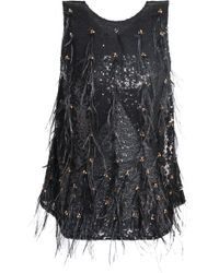 Koche - Sequin, Bead And Feather-embellished Tulle Top - Lyst