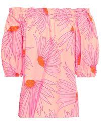Kate Spade Off-the-shoulder Printed Cotton-poplin Top - Pink