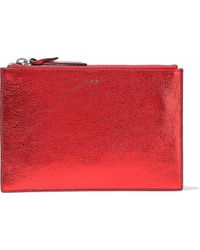 IRO Metallic Cracked-leather Pouch - Red