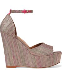 M Missoni Leather-trimmed Metallic Crochet-knit Wedge Sandals Antique Rose - Multicolor