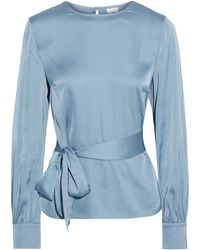 Iris & Ink Constance Belted Satin Blouse Sky Blue