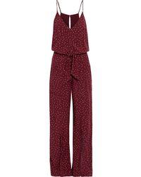 ViX Lola Nora Belted Polka-dot Voile Wide-leg Jumpsuit - Red