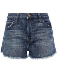 Current/Elliott The Boyfriend Distressed Denim Shorts Dark Denim - Blue