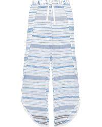 lemlem Tiki Layered Cotton-blend Jacquard Wide-leg Trousers Blue