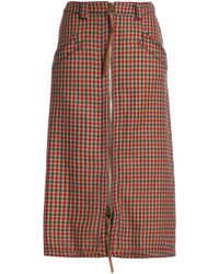 Agnona - Leather-trimmed Houndstooth Wool Skirt Light Brown - Lyst