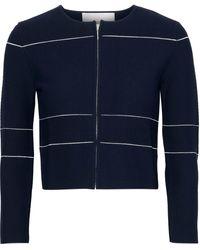 Carolina Herrera Striped Stretch-knit Cardigan Navy - Blue