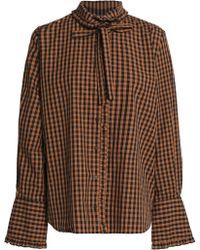 Claudie Pierlot - Pussy-bow Gingham Cotton-poplin Shirt - Lyst
