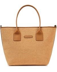 Brunello Cucinelli Leather-trimmed Bead-embellished Faux Raffia Tote Light Brown