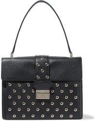 RED Valentino - Eyelet-embellished Textured-leather Tote - Lyst
