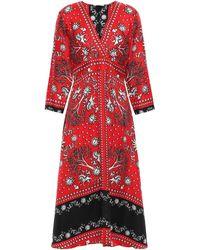 Sandro Printed Silk-twill Midi Dress Red