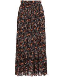 Antik Batik Otto Gathered Printed Crepe Maxi Skirt - Black