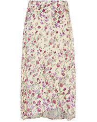 Velvet By Graham & Spencer Isadora Wrap-effect Floral-print Crepe Midi Skirt Pastel Yellow - Multicolour