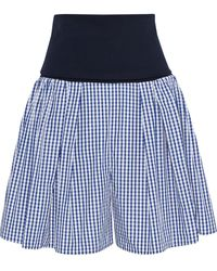 ADEAM Convertible Stretch-jersey And Gingham Shell Shorts Navy - Blue