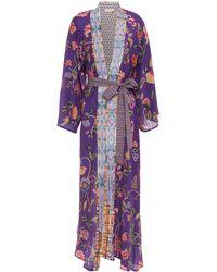 Anjuna Kandela Jacquard-trimmed Metallic Printed Silk Crepe De Chine Kimono - Purple