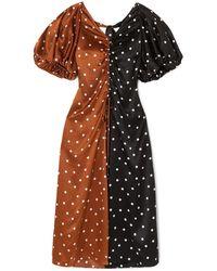 Lee Mathews Talulah Ruched Two-tone Polka-dot Silk-satin Midi Dress Black