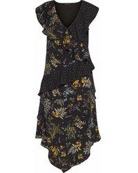 W118 by Walter Baker Emi Ruffled Printed Crepe De Chine Midi Dress Black