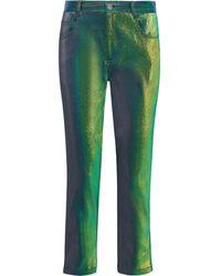 Area Lurex Straight-leg Trousers Green