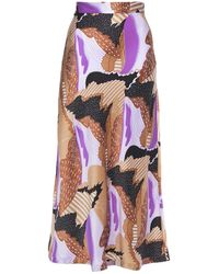 Equipment Printed Silk-twill Midi Skirt Sand - Multicolour