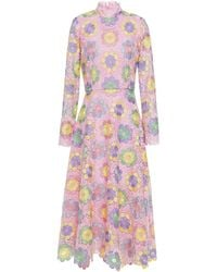 Olivia Rubin Lola Floral-appliquéd Guipure Lace Midi Dress Baby Pink
