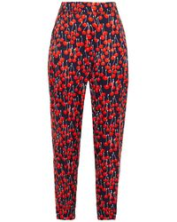 Victoria, Victoria Beckham Printed Crepe Tapered Trousers Midnight Blue
