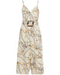 Nicholas Cropped Printed Linen Wide-leg Jumpsuit - White