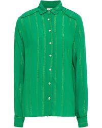 Cecilie Copenhagen Cecilie Copenhagen Amalie Metallic Striped Crepe Shirt - Green