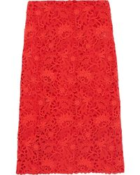 Valentino Cotton-blend Guipure Lace Pencil Skirt Tomato Red