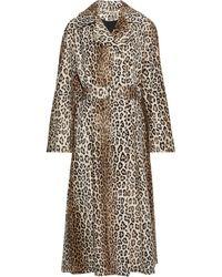 Emilia Wickstead Jill Belted Cotton-blend Faux Fur Coat Animal Print - Multicolor