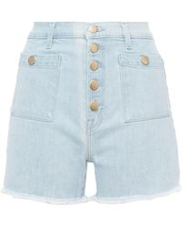 J Brand Joan Button-detailed Frayed Denim Shorts Light Denim - Blue
