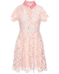 Maje Macramé Mini Dress Pastel Pink