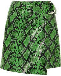 Stand Studio + Pernille Teisbaek Kaya Snake-effect Faux Leather Wrap Mini Skirt - Green