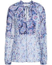 Claudie Pierlot Belinie Bedruckte Bluse Aus Chiffon Mit Raffung - Blau