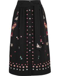 Temperley London Juniper Embroidered Crepe Skirt - Black