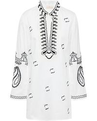 Tory Burch - Embroidered Cotton-poplin Kaftan - Lyst