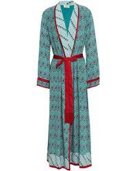 Talitha - Satin-trimmed Printed Silk Crepe De Chine Kimono - Lyst