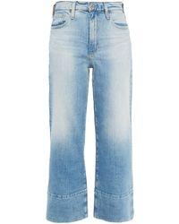 AG Jeans Cropped High-rise Wide-leg Jeans Light Denim - Blue