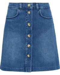 FRAME Claire Faded Denim Skirt Mid Denim - Blue