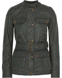 Belstaff Roadmaster Belted Coated-cotton Jacket Dark Gray