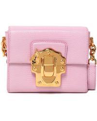Dolce & Gabbana - Lucia Lizard-effect Leather Shoulder Bag Baby Pink - Lyst